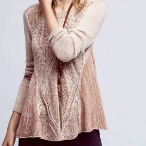 Anthropologie Moth Mixed Knit Cable Sweater XS
